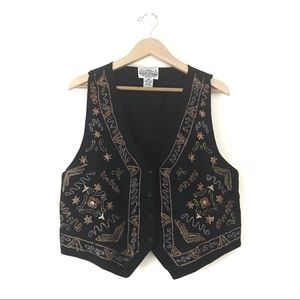 Vintage • Metallic Embroidered Black Vest